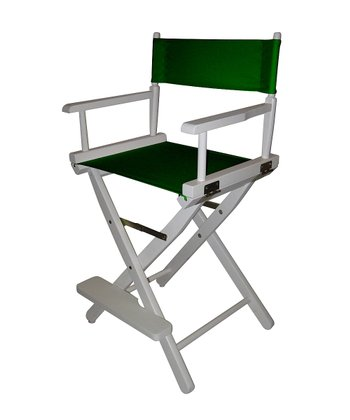 White & Green Counter Height Director's Chair