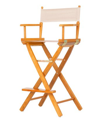 Honey Oak & Natural Bar Height Director's Chair