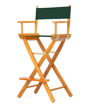 Honey Oak & Green Bar Height Director's Chair