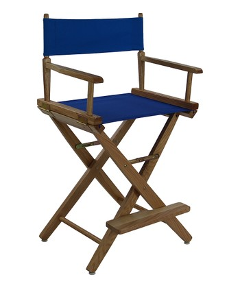 Royal Blue & Natural Extra-Wide American Oak 24'' Director's Chair