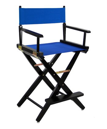 Royal Blue & Black Extra-Wide American Oak 24'' Director's Chair