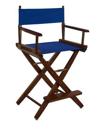 Royal Blue & Brown Extra-Wide American Oak 24'' Director's Chair