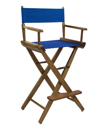 Royal Blue & Natural Extra-Wide American Oak 30'' Director's Chair
