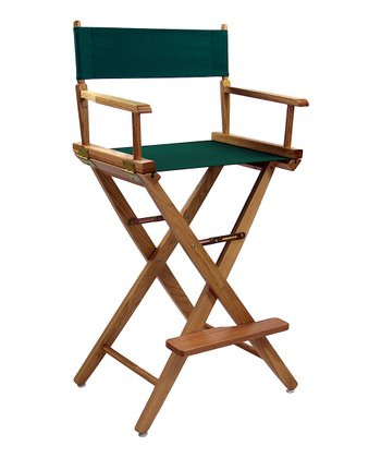 Green & Natural Extra-Wide American Oak 30'' Director's Chair