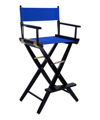 Royal Blue & Black Extra-Wide American Oak 30'' Director's Chair