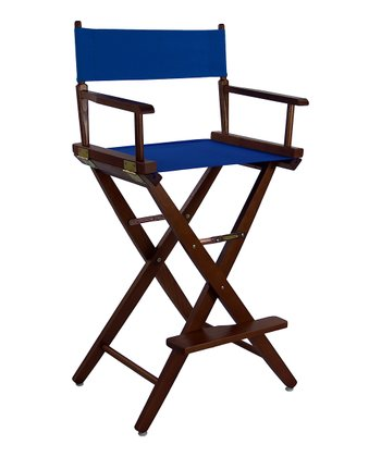 Brown & Royal Blue Extra-Wide American Oak 30'' Director's Chair