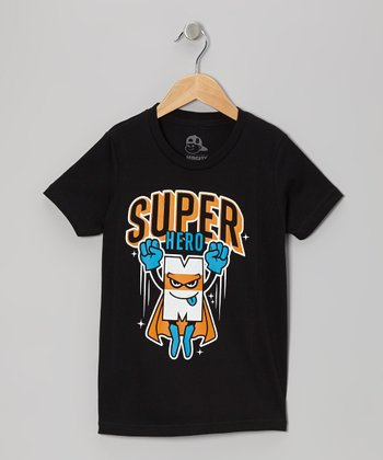Black 'Super Hero' Tee - Toddler & Boys
