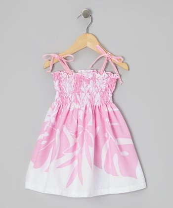 Pink Breadfruit Leaf Convertible Dress - Girls