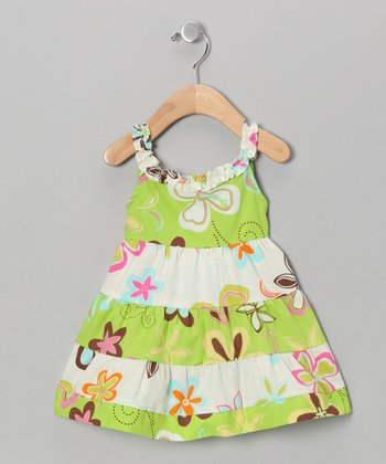 Green & White Floral Tiered Dress - Infant