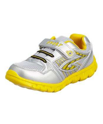Neway Shoes Silver & Yellow Mesh Running Shoe