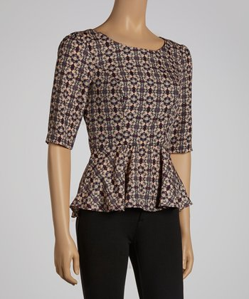 Plum Half-Sleeve Peplum Top