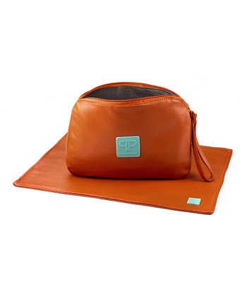Orange Faux Leather Diaper Clutch & Changing Pad