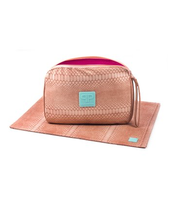 Grapefruit Faux Leather Diaper Clutch & Changing Pad