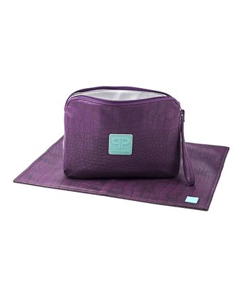 Eggplant Faux Leather Diaper Clutch & Changing Pad