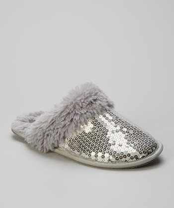 Gray Sequin Slippers - Women