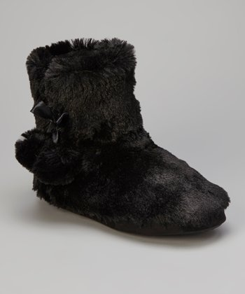Black Pom-Pom Slipper Boot - Women