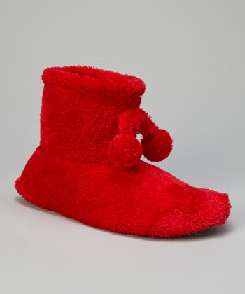 Red Fuzzy Pom-Pom Slipper Boot