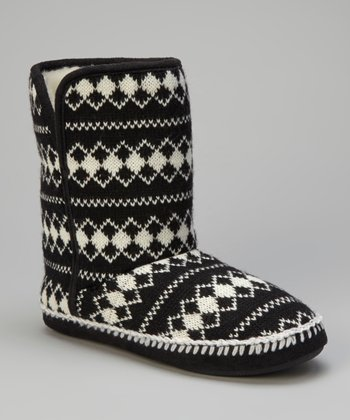 Black Diamond Knit Slipper Boot - Women
