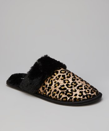 Gold & Black Leopard Slippers - Women