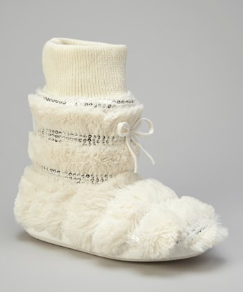 Ivory Fuzzy Sequin Slipper Boot - Women
