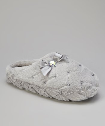 Gray Rhinestone Bow Slippers - Women