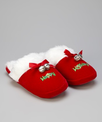 Red Holiday Slippers - Women