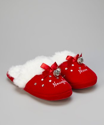 Red 'Naughty' & 'Nice' Slippers - Women