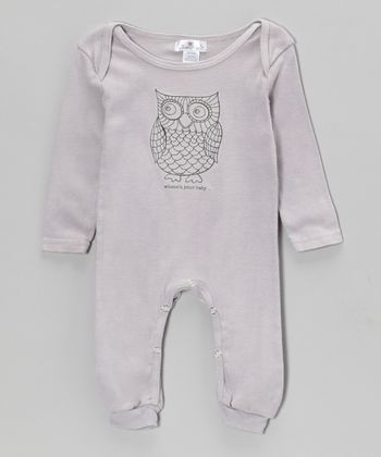 Gray 'Whooo's Your Baby' Playsuit - Infant