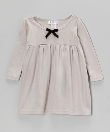 Gray & Black Bow Dress - Infant