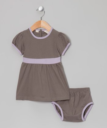 Purple & Gray Organic Dress & Diaper Cover - Infant