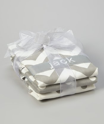 Gray & White Zigzag & Polka Dot Personalized Burp Cloth Set
