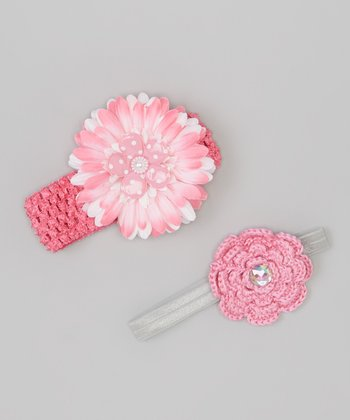 Pink Flower Crocheted Headband Set