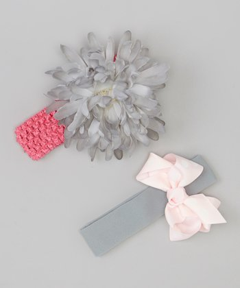 Gray Flower Headband & Pink Bow Headband