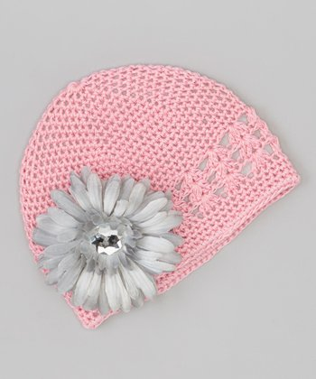 Pink & Gray Flower Crocheted Beanie