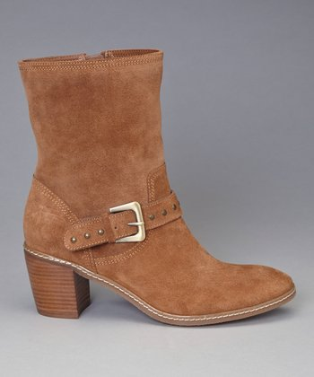 Cognac Suede Brier Ankle Boot