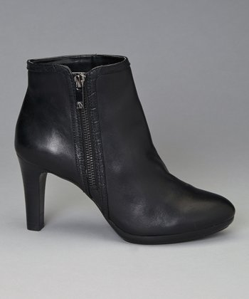 Black Leather Caelina Ankle Boot
