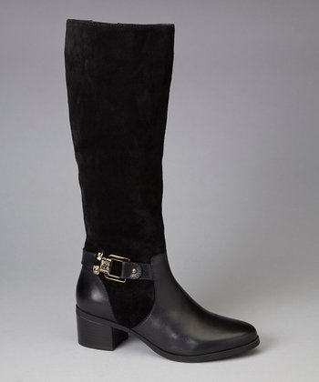 Black Suede Joetta Riding Boot