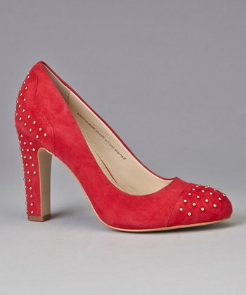 Red Suede Studded Qadira Pump