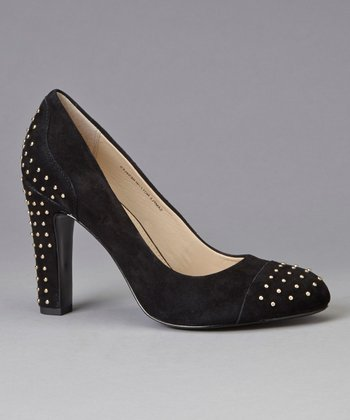 Black Suede Studded Qadira Pump