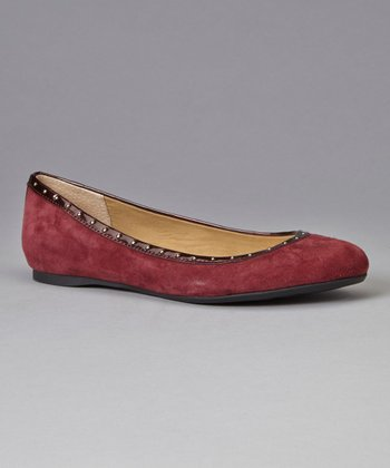 Dark Red Suede Xandra Flat