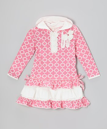 Pink Quatrefoil Sequin Ruffle Hooded Dress - Infant, Toddler & Girls