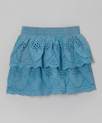 Teal Lace Eyelet Ruffle Skirt - Toddler