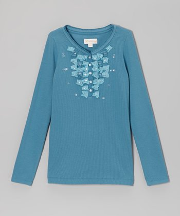 Teal Henley Tee - Toddler & Girls