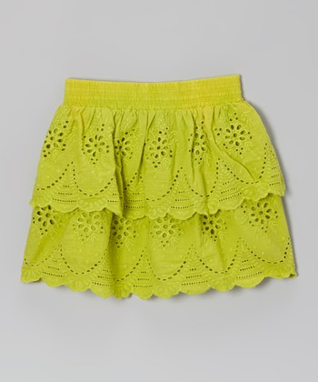 Chartreuse Lace Eyelet Ruffle Skirt - Toddler & Girls