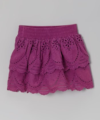 Plum Lace Eyelet Ruffle Skirt - Toddler & Girls