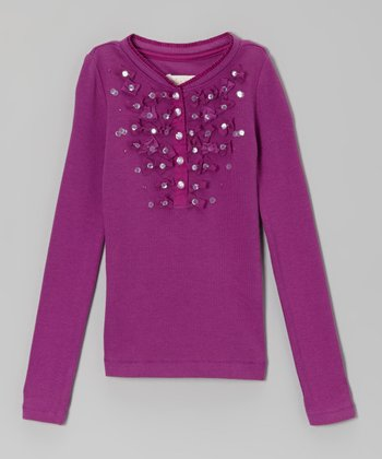 Plum Henley Tee - Toddler & Girls