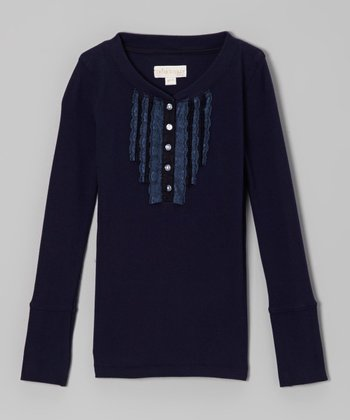 Navy Lace Henley Tee - Girls