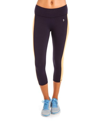 Navy & Orange Bondi Capri Pants