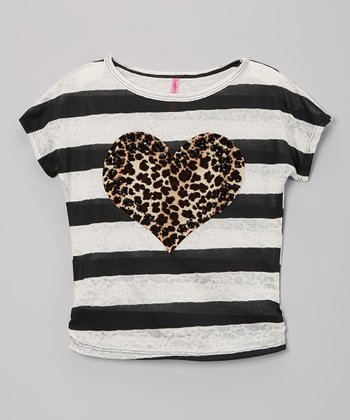 Black & White Stripe Cheetah Heart Tee - Girls
