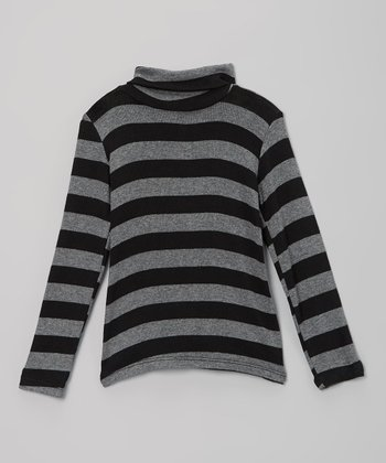 Black & Gray Stripe Turtleneck - Girls